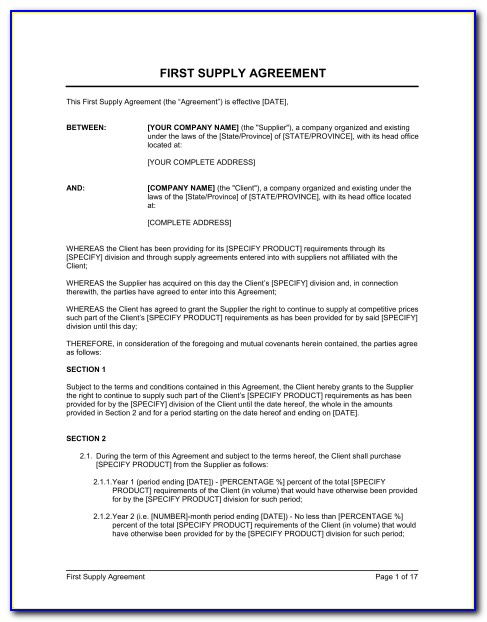 Supply Agreement Template Uk Free