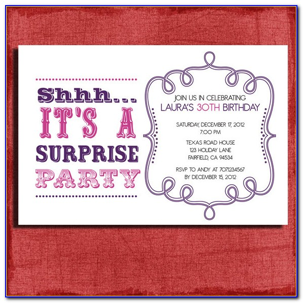 Surprise Birthday Invitation Samples