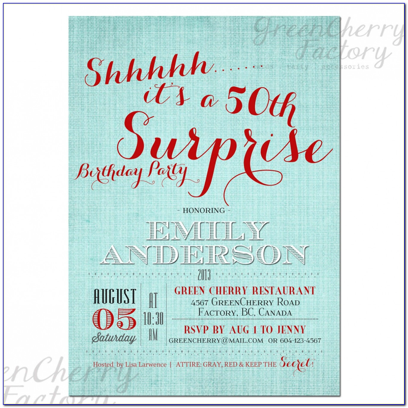 50th Surprise Party Invitations Which Suitable For Your Dreamed Invitation To Party 744