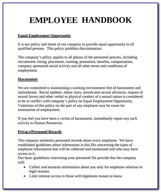 Sample Employee Handbook 9+ Documents In Pdf Pertaining To Employee Handbook Template