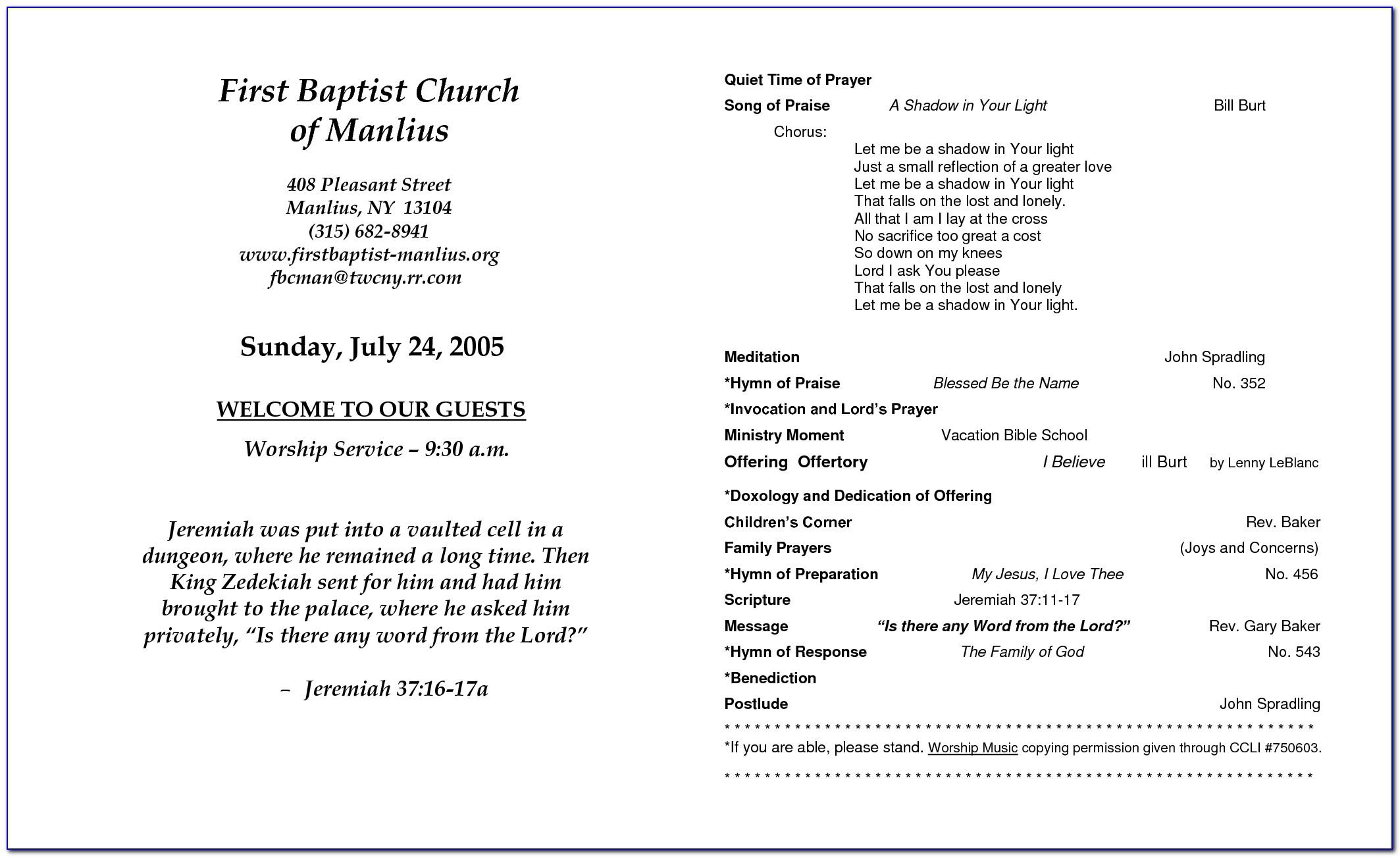 Templates For Wedding Church Programs