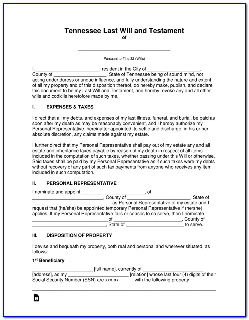 Tennessee Last Will And Testament Template