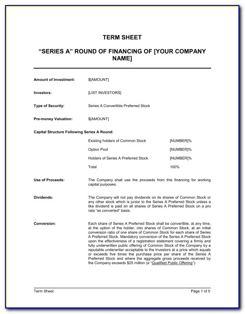 Term Sheet Template Pdf
