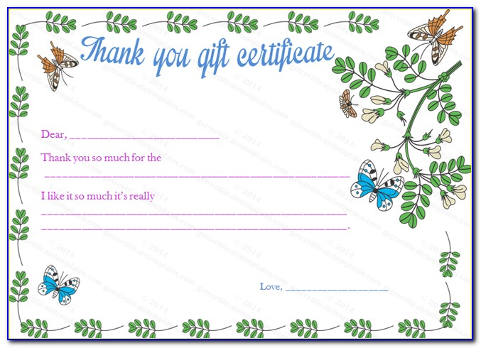 Thank You Gift Certificate Template