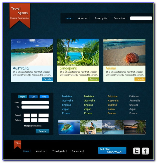 Travel Agency Website Templates Psd Free Download