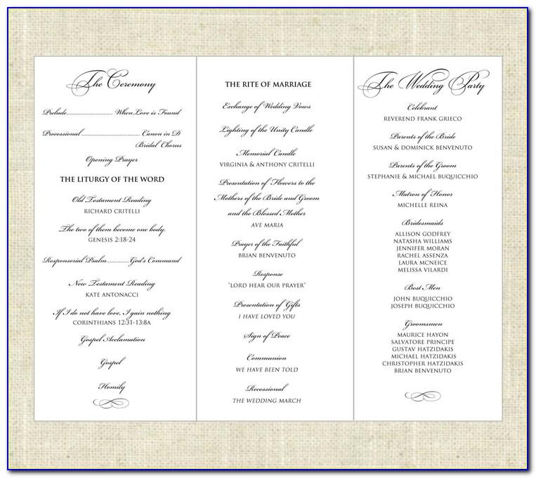 Tri Fold Wedding Program Template Layout