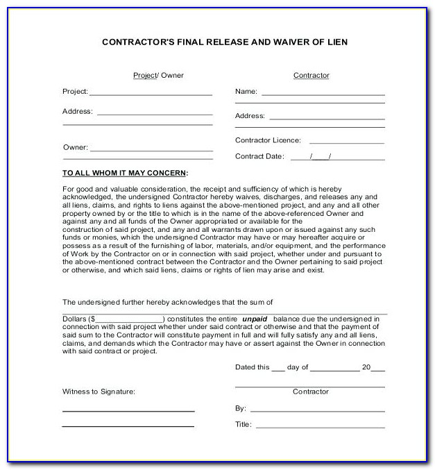 Unconditional Lien Waiver Template Word