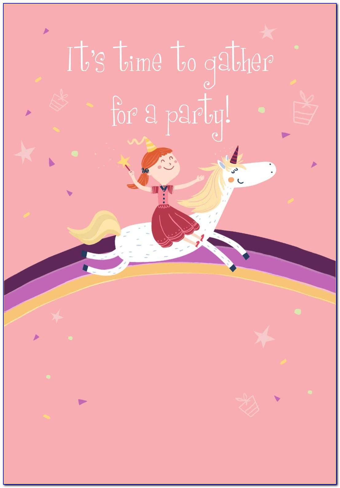 Unicorn Birthday Card Template Free