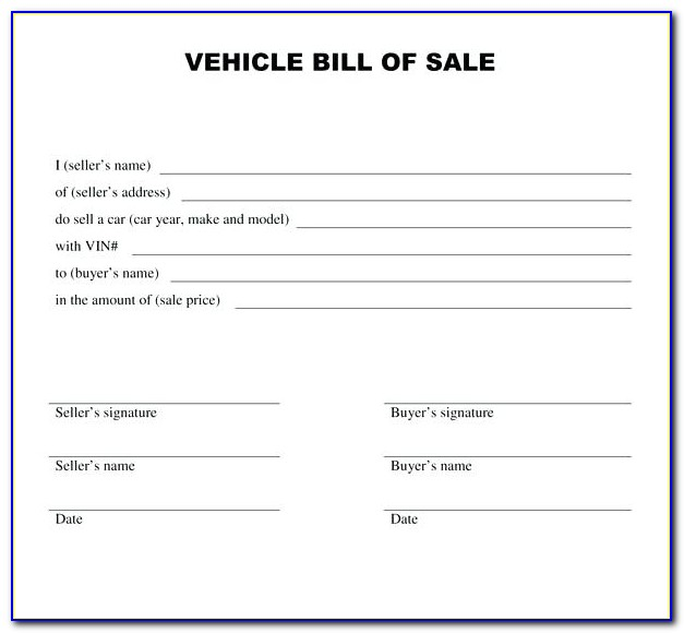 Used Car Bill Of Sale Template Ontario