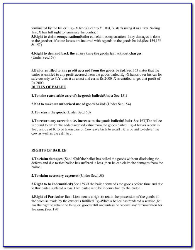Vehicle Bailment Agreement Template