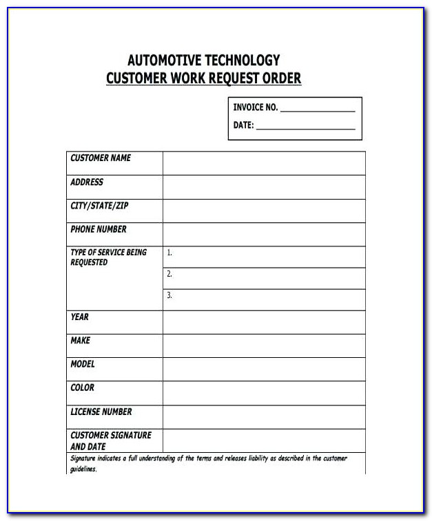 Vehicle Maintenance Work Order Template