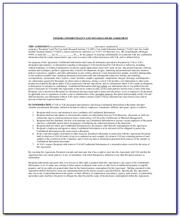 Vendor Confidentiality Agreement Template