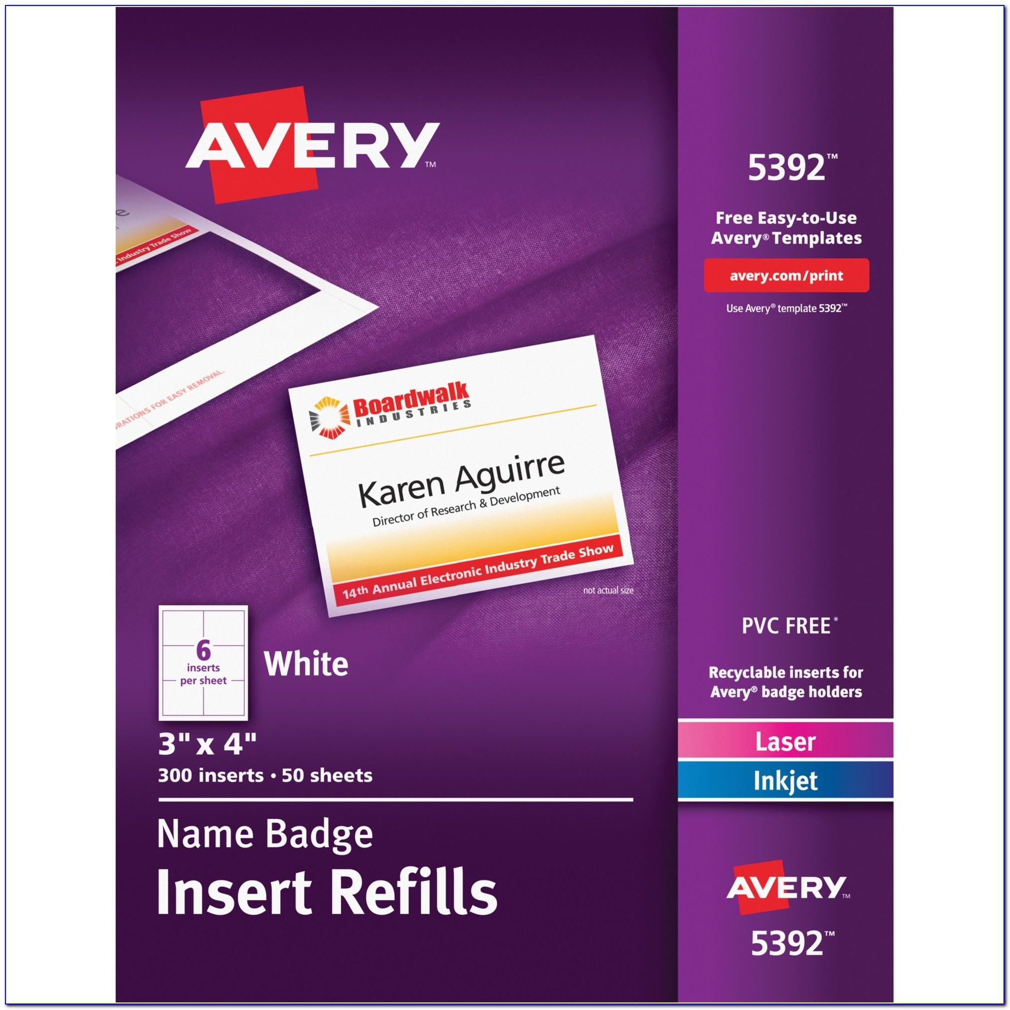 Avery Vertical Name Badge Template Avery Name Badge Insert Refill Ave5392 Supplygeeks Com