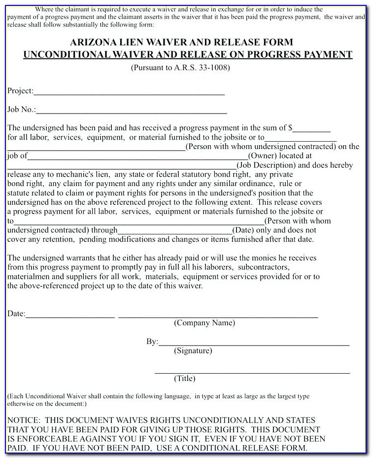 Waiver Of Lien Template South Africa