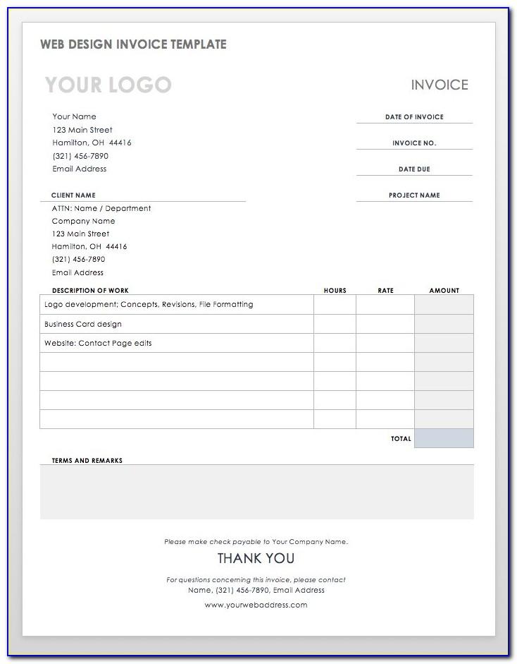 Web Design Invoice Template Excel