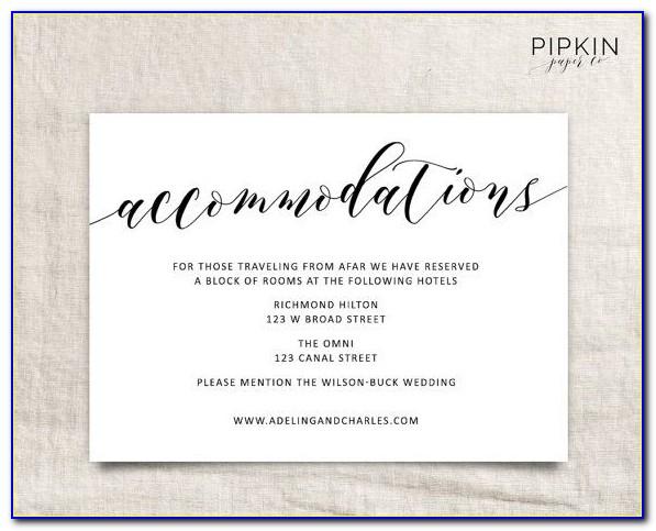 Wedding Hotel Accommodation Card Template Free