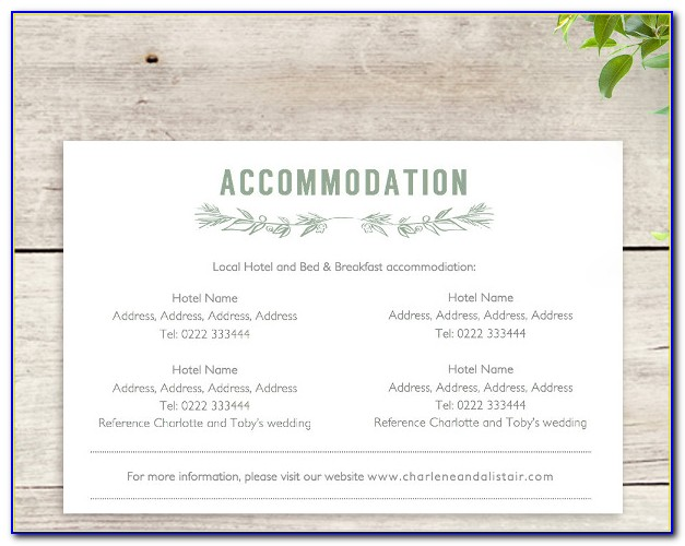 Wedding Invitations Hotel Accommodation Cards Template