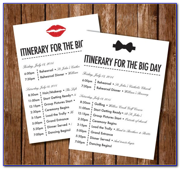 Wedding Itinerary For Guests Template