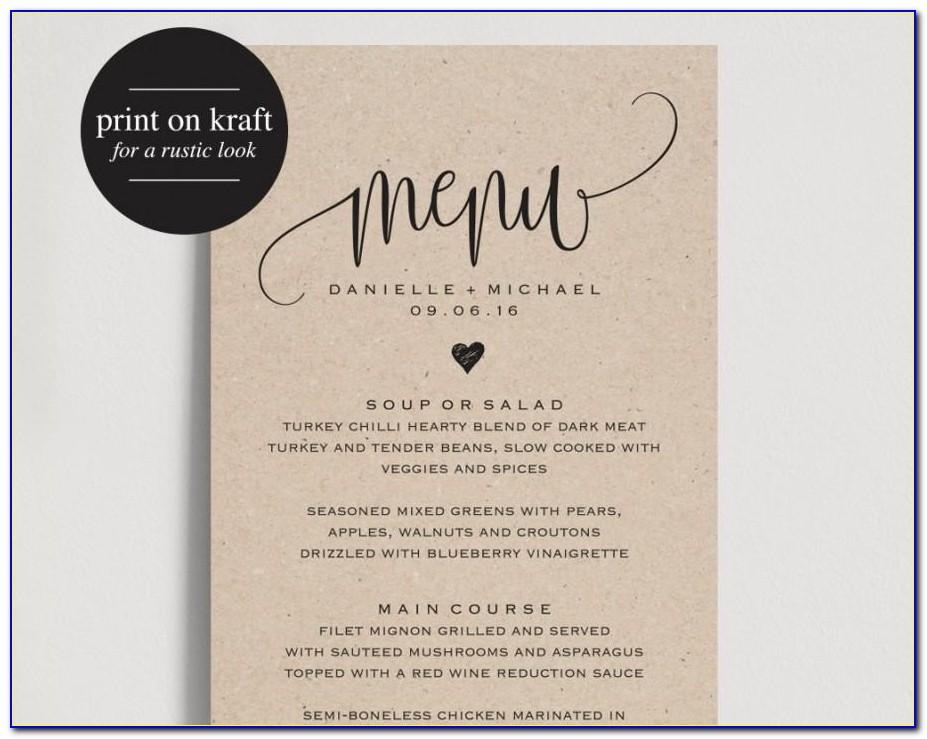 Wedding Menu Design Templates Free
