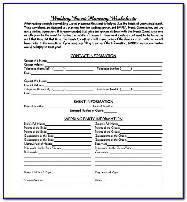 Wedding Plan Sample Pdf