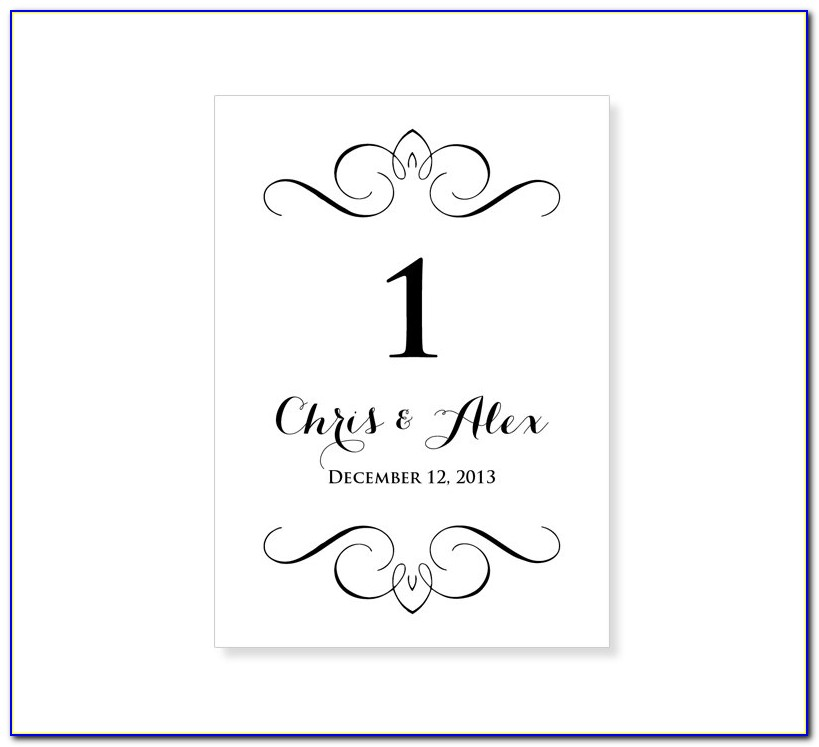 Wedding Table Numbers Templates Free
