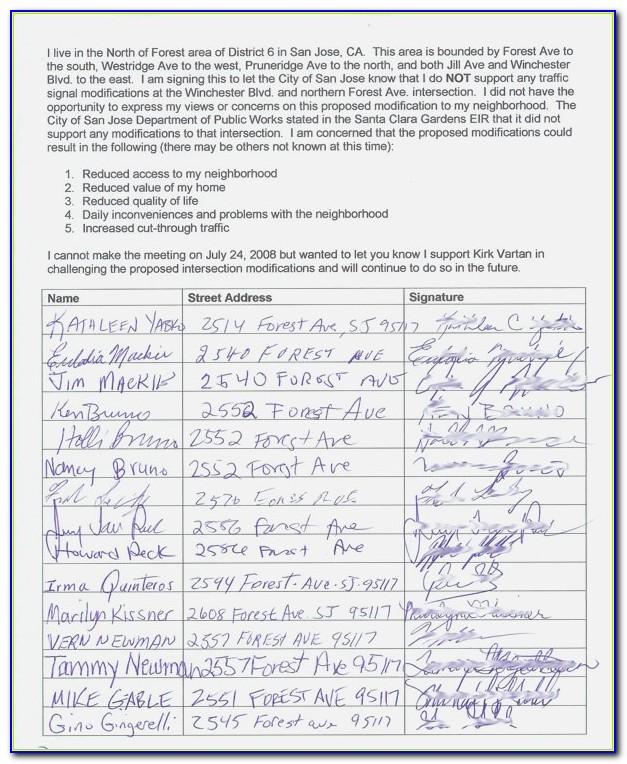 Neighborhood Petition Template