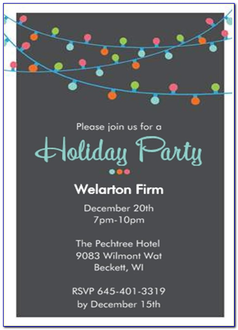 Company Holiday Party Invitation Sansalvaje Throughout Work Holiday Party Invitation Template