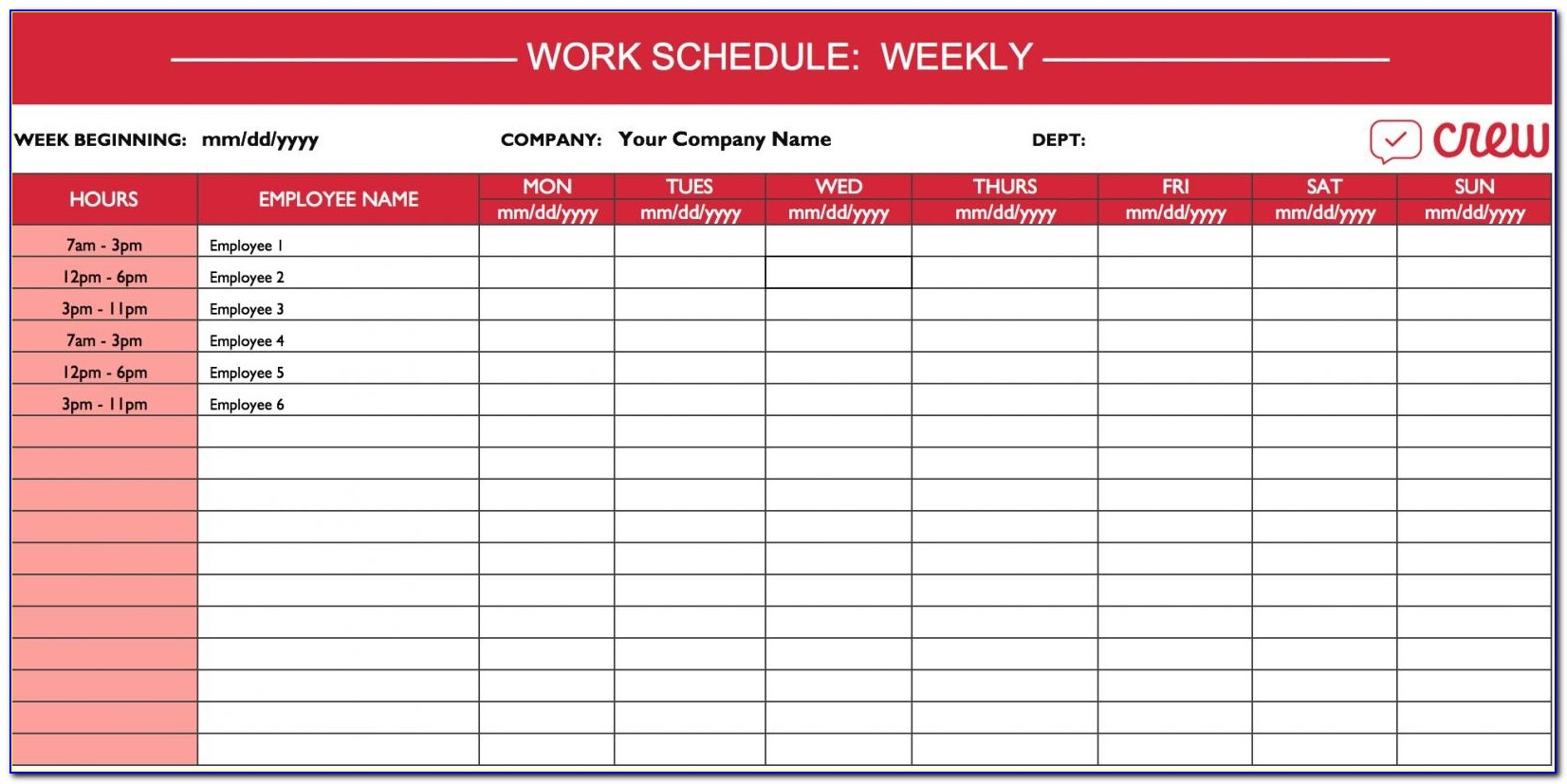 Printable Work Calendar Work Schedule Template
