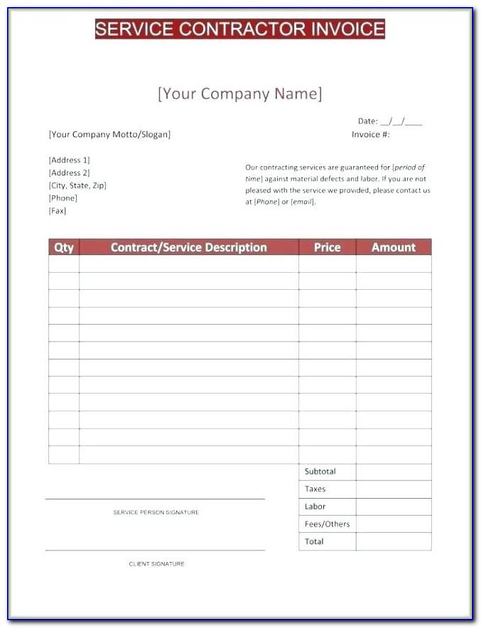 1099 Contractor Invoice Template