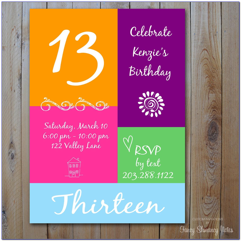 13th Birthday Invitation Templates Free