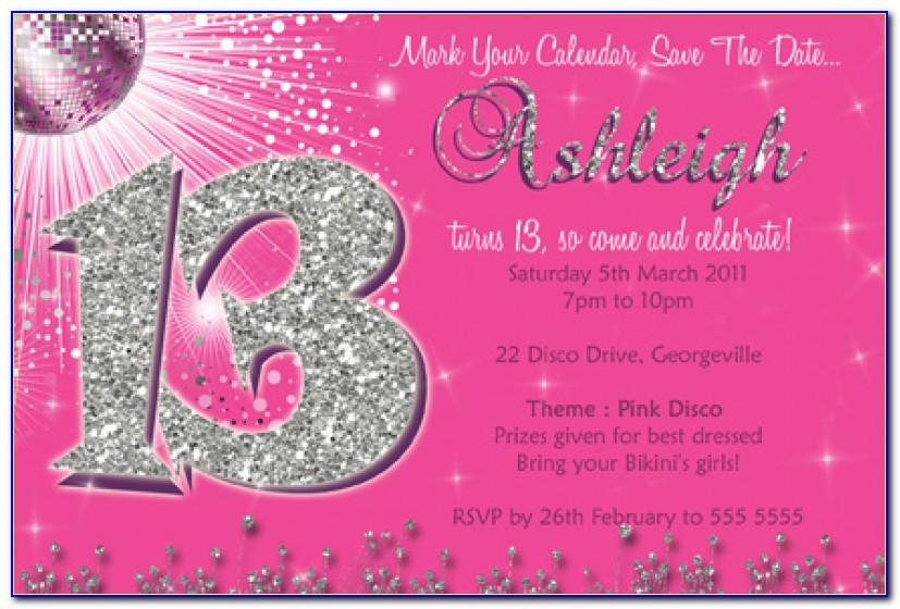 13th Birthday Invitations Templates Free   Ctsfashion