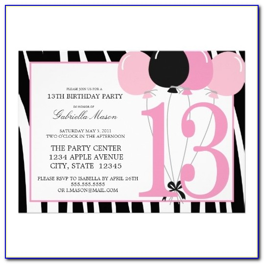 13th Birthday Invitations Free Templates Boy