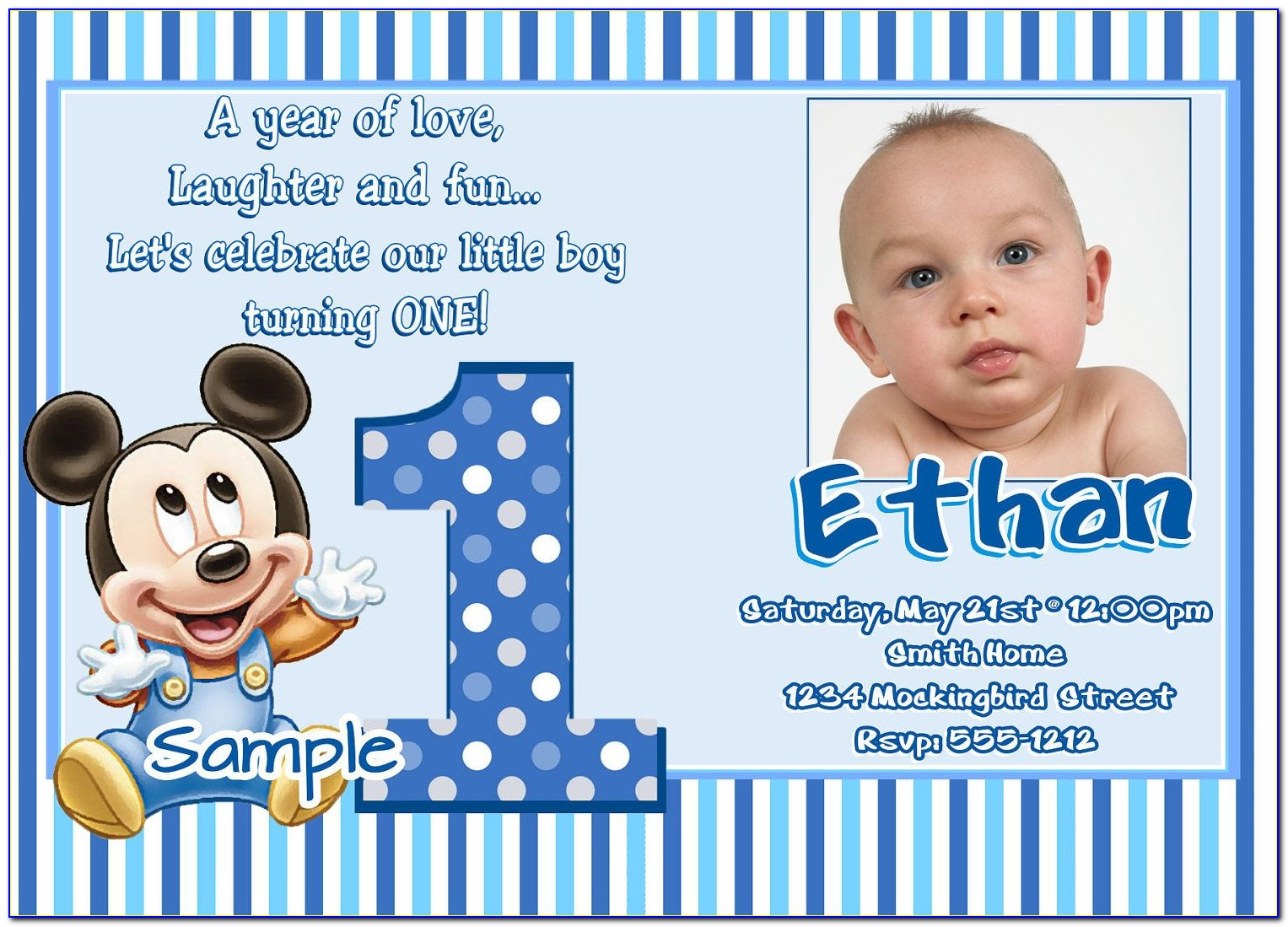 1st Birthday Invitation Templates Free Download