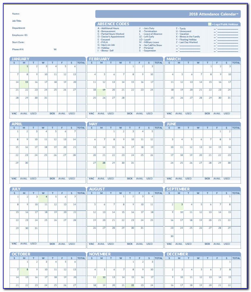 2018 Attendance Calendar Free Printable Employee Attendance Calendar 2018