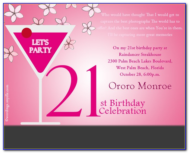 21st Birthday Invitation Templates Blank