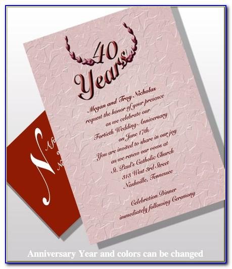40th Wedding Anniversary Invitation Cards