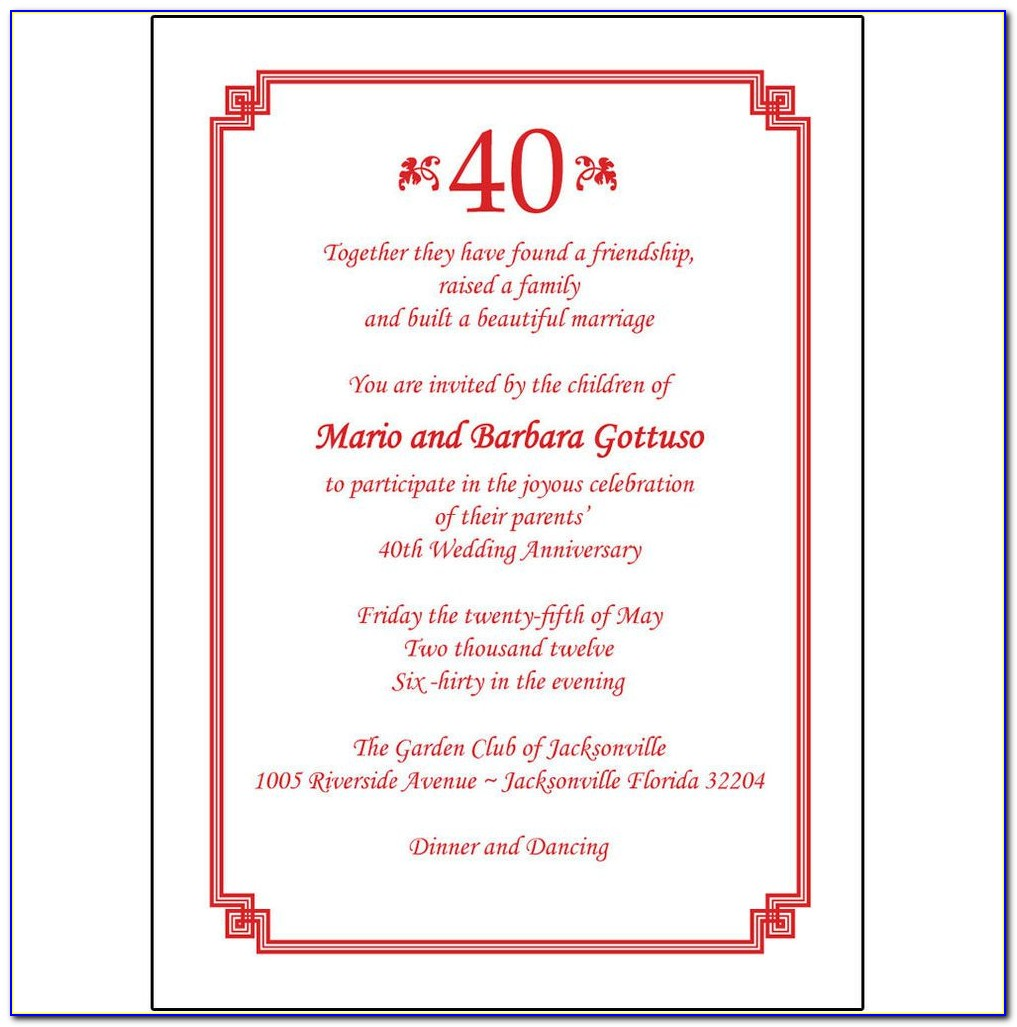 40th Wedding Anniversary Invitation Templates