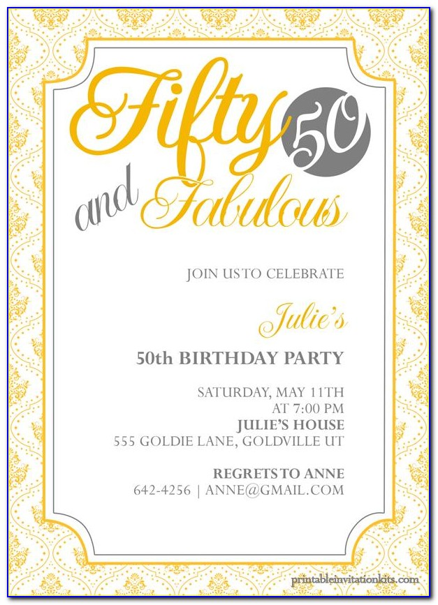 50th Birthday Invitation Templates Free Printable 613