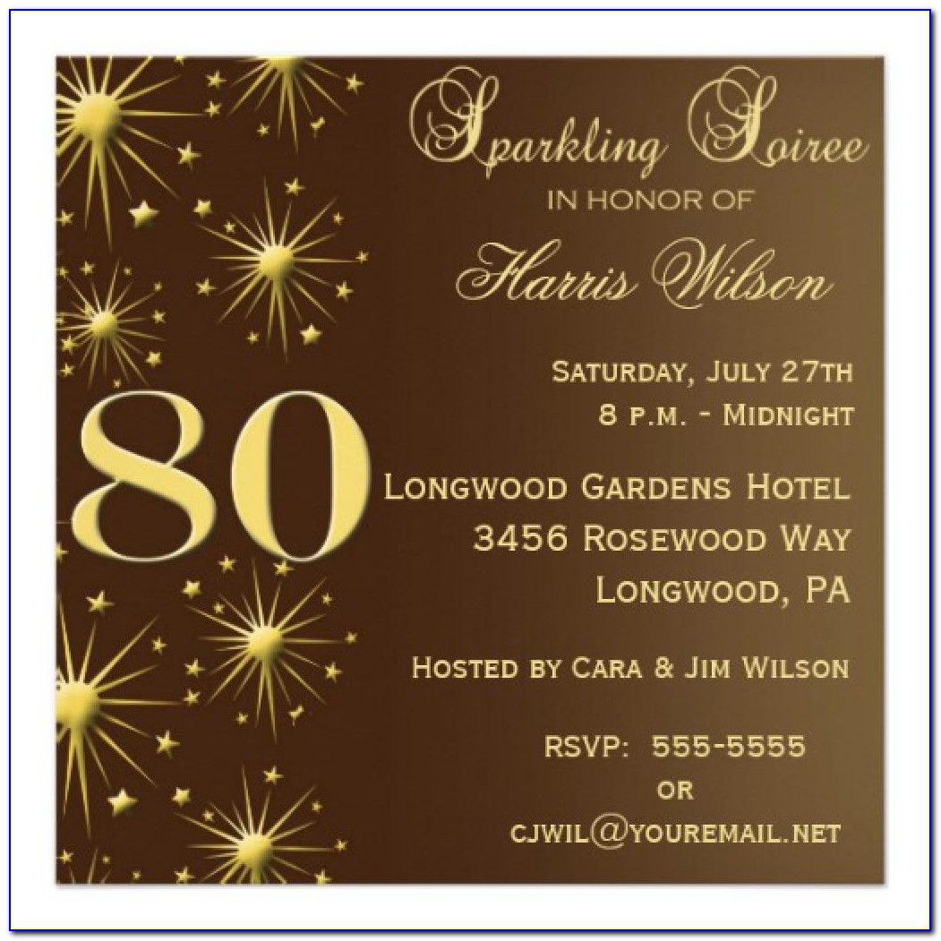 80th Birthday Invitation Card Free Template