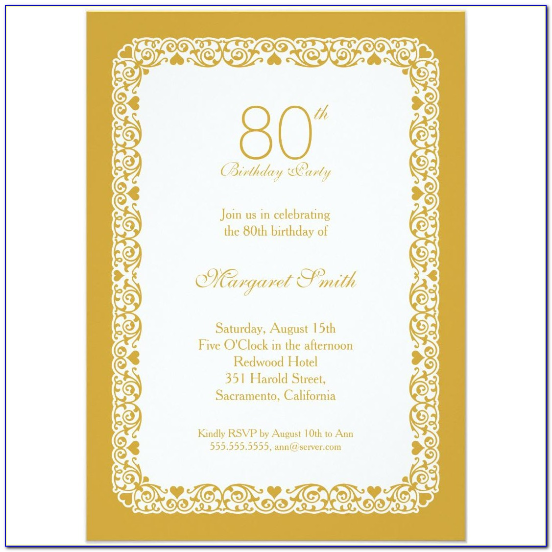 80th Birthday Invitation Ideas
