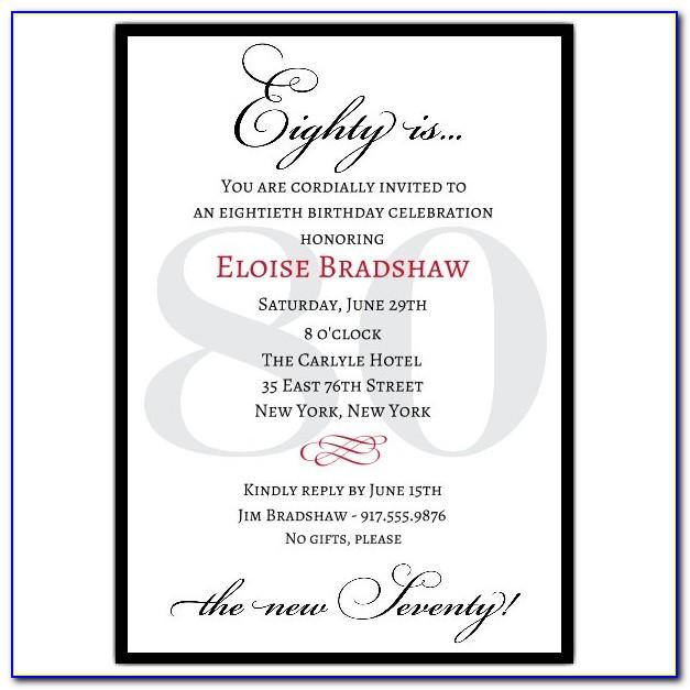 80th Birthday Invitation Templates Word