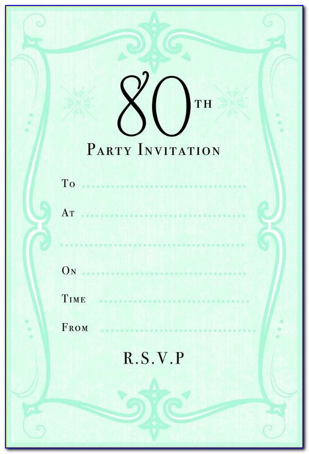 80th Birthday Invitations Templates Free
