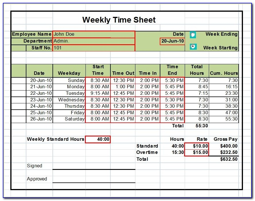Access Timesheet Template Free