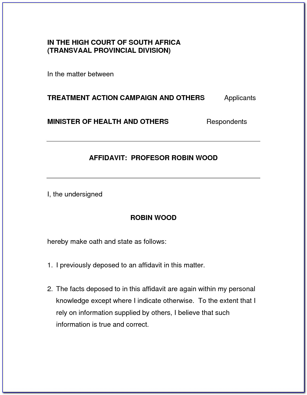 Affidavit Template South Africa Proof Of Residence