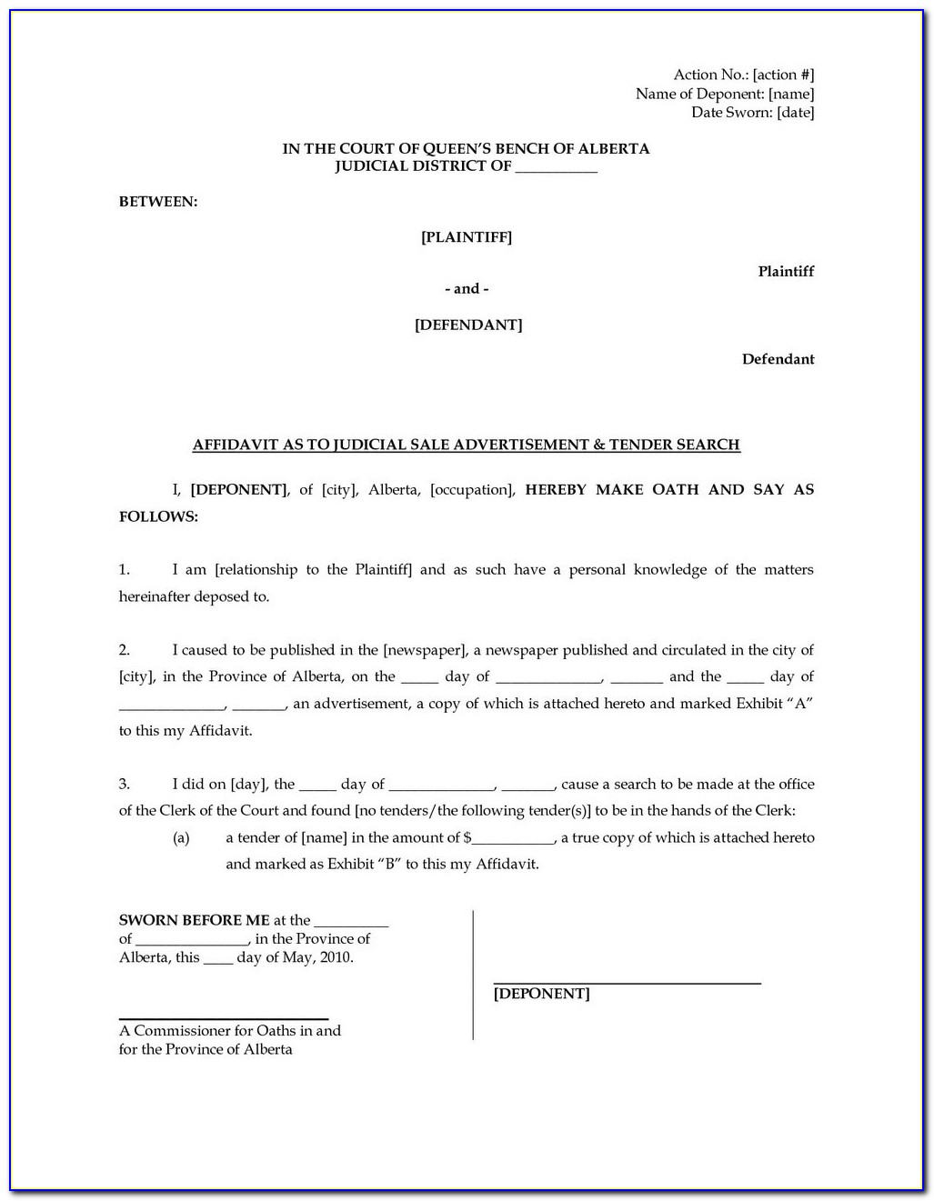 Affidavit Template South Africa Word