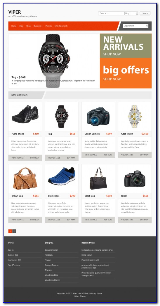 Affiliate Website Template Wordpress