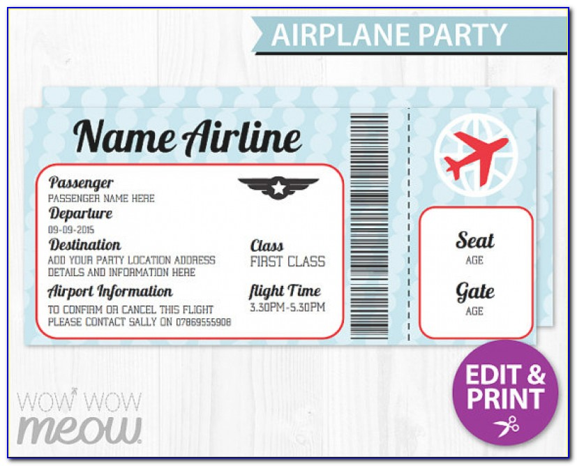 Airline Ticket Invitation Template Airplane Ticket Invitations