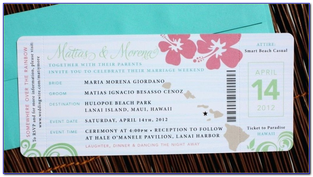 Airline Ticket Wedding Invitations Template