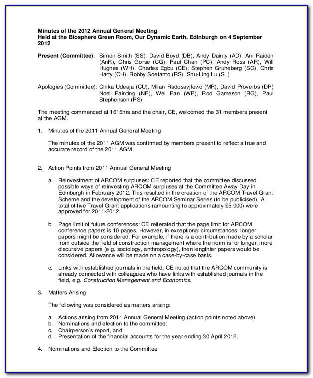 Annual General Meeting Minutes Template Australia
