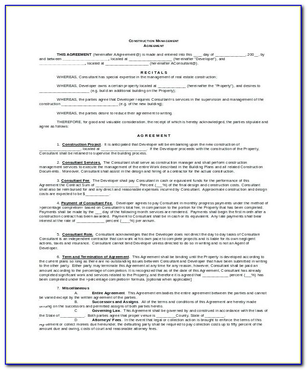 Architect Contract Form
